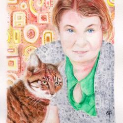 Portrait de Marie Pra et Caramel (artiste : David Henri Mahe)